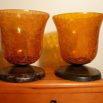 2 more pieces.. Orange Crackle Glass Depression Goblets on Silver Plate Bases