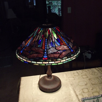 Faux Tiffany Blue Dragonfly Lamp