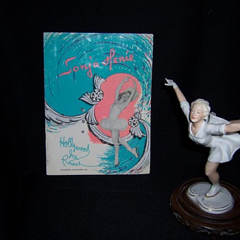 Sonja Henie Skating Porcelain Figurine and Original Autographed Souvenir Program