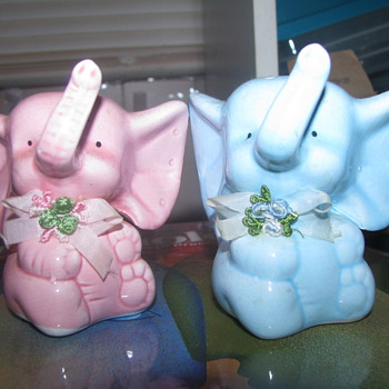 Pink and Blue salt and pepper shakers - Animals
