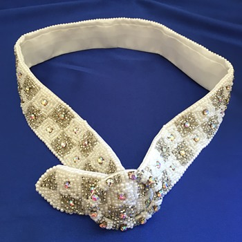 Vintage Beaded Belt/Sash With Crystals
