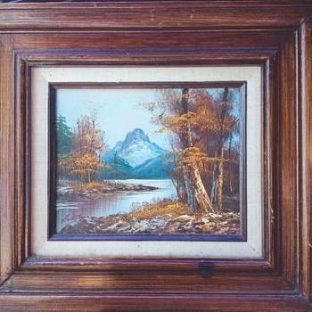 Mountain scene oil paining, can't decipher artist signature - Visual Art