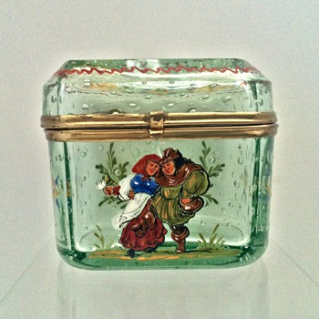 Antique Bohemian Enamelled Controlled Bubbled Casket Box  - Art Glass