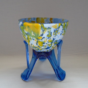 Czech Art Deco Welz Spatter Glass Bowls on Legs
