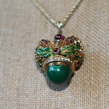 Crown Pendant with Malachite Stone - Costume Jewelry