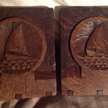 Carved wooden bookends