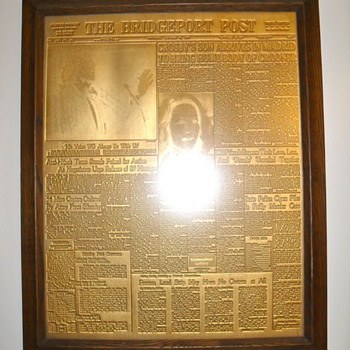 1977 Gold Plated Newspaper Printing Press Plate featuring Bing Crosby&#039;s Death - Music