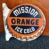 "Mission ""ORANGE"" Ice Cold  double-sided flange tin sign"
