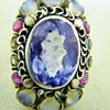 Vintage Deco Heart Moonstone Tourmaline Sterling Ring