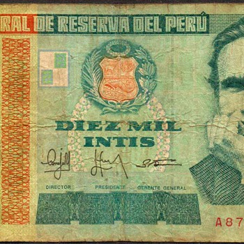 Peru - (10,000) Intis Bank Note