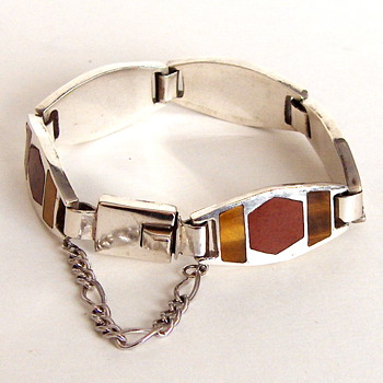 Superb Mexico Sterling Silver Link Bracelet, Heavy, Carnelian TigerEye Stones Inserts