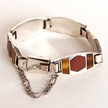 Superb Mexico Sterling Silver Link Bracelet, Heavy, Carnelian TigerEye Stones Inserts - Fine Jewelry