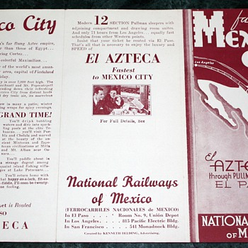 fastest to mexico city el azteca through pullman service via el paso national railways of mexico - Railroadiana