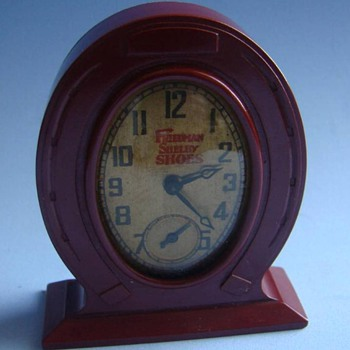 Miniature Bakelite Shoe Advertisement Clock - Advertising