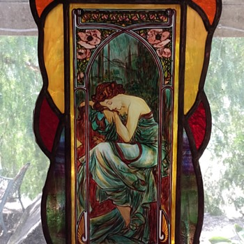 Stained Glass Panel in the Style of Alphonse Mucha - Art Glass