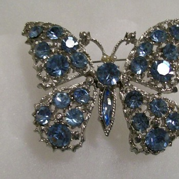 Vintage Stamped Weiss Butterfly Brooch  - Costume Jewelry