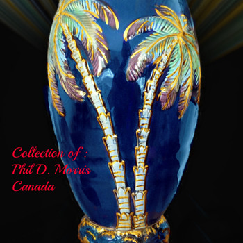 Beswick Largest Vase, Shape 1064, Over 11 1/2 Inch Jug, Cobalt Blue, Painted & Gilt. High Gloss