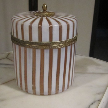 Murano Copper Aventurine Art Glass Hinged Powder Box w/Brass Gilt Mounts 5.5""