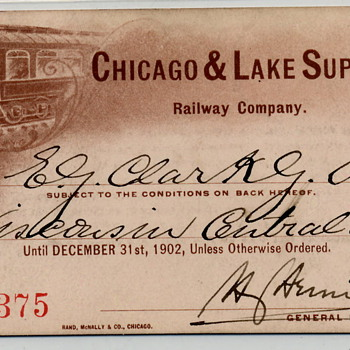 Chicago &amp; Lake Superior Railroad - 1902 Annual Pass - Railroadiana