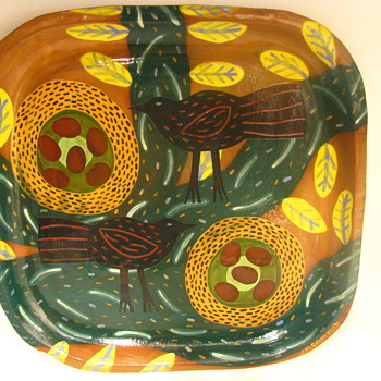 Folk Art Redware Plate. Crows Nests