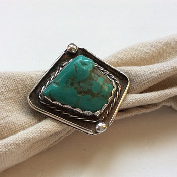 Old Turquoise & Sterling Native Indian Ring, Initials