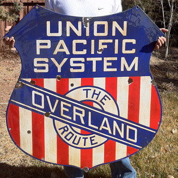 Union Pacific Overland Route Railroad Sign - Railroadiana