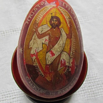 Old 'Christ is Risen' Wooden Egg