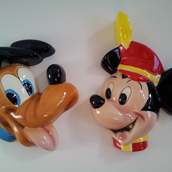 Walt Disney Production porcelain Pluto and Mickey Mouse wall plaques