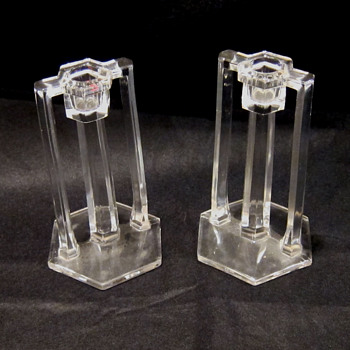 Unknown, clear glass candle sticks.