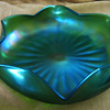 Nice green iridesecent glass bowl - 6 point flower