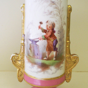 Pink and Gold Vase.  Handpainted.  Blacksmith or swordsmith image