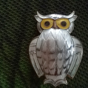 David Andersen Norway Sterling Silver & White Guilloche Enamel Owl Pin Thrift Shop Find $10