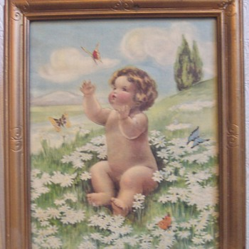 "Bessie Pease Gutmann ""Daisies & Butterflies"" - Posters and Prints"