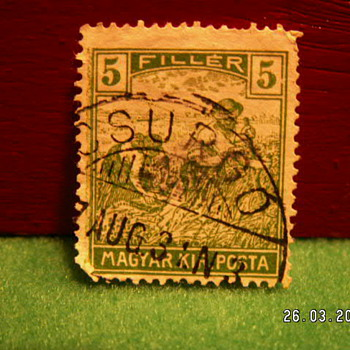 "Antique 1916-1918 ""Harvesting"" Magyar Kir Posta 5 Filler Posta Stamp ~ Used"