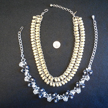 A Trifari and Star Necklace Find...Gold Tears...Silver Rhinestones - Costume Jewelry