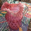 Large cranberry coin dot pitcher
