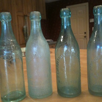 4 Old Blob Top Beer Bottles - Bottles