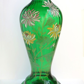 Legras Saint-Denis Enameled 'Japonais' Chrysanthemums Vase - Art Glass