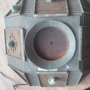 Antique folk art Christmas tree stand? Rotating? Village accessory? What is it