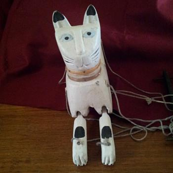 beautiful wooden cat puppet