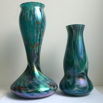 Rindskopf Twisted Form Teal, White and Red Striated Vase  - Art Glass