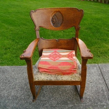 ANTIQUE INDIAN CHIEF'S HEAD ROCKING CHAIR