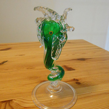 Murano Italian Art Glass Dolphin Vase