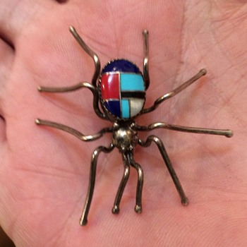 Vintage Sterling Zuni Inlaid Spider Pin