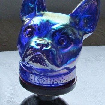 French Bulldog? Carnival Glass Candy Container