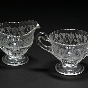 Unknown pattern on sugar bowl and creamer - Glassware