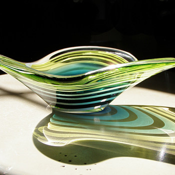 Rare Flygsfors 1954 signed Paul Kedelv Mid century modern bowl - Art Glass