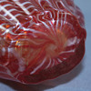 Unknown red white striped pitcher / vase