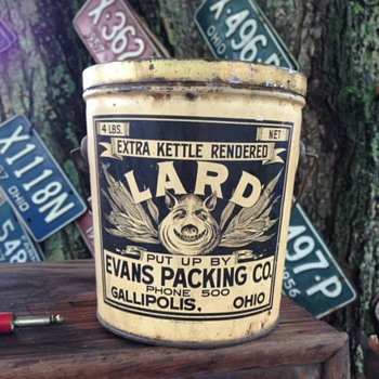 Vintage lard can tin Evans Gallipolis Ohio - Advertising