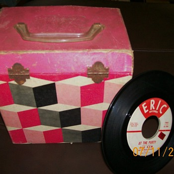 45 record carry case and 45's . Case 3 dimensional squares :-)